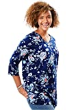 Woman Within Women's Plus Size Perfect Print V-Neck Tunic Evening Blue Bouquet,22/24