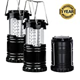 Camping Lanterns 2 Pack LED Collapsible Portable Flashlights Lantern Super Bright Auto Lighting for Outdoor Night Hiking Indoor Emergency Power Outages Nighttime Use Battery
