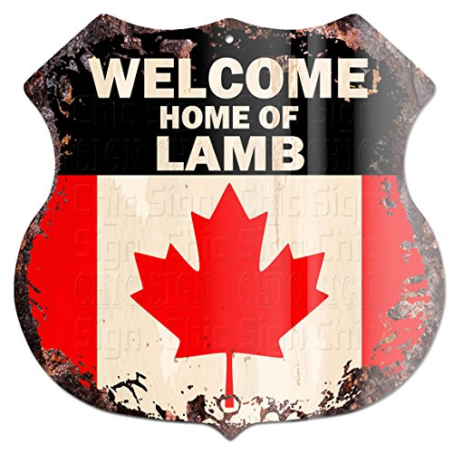 "Welcome Home of Lamb Canada Flag Custom Personalized Chic Tin Sign Vintage Retro 11.5""x 11.5"" Shield Metal Plate Store Home Man cave Decor Funny Gift ()"