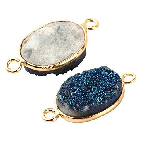 2pcs Natural Druzy Agate Connector Oval Blue 10*14mm Gold Bezel Two Hooks Gemstone Beads ()