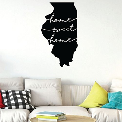 Illinois Wall Art - Home Sweet Home - State Silhouette Vinyl Sticker for Home Decor, Living Room or Family Room Decoration