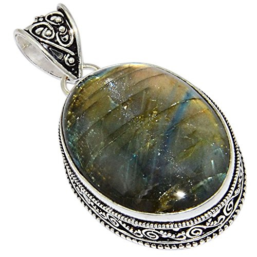 Price comparison product image 23.6Gm Labradorite Handmade 925 Silver Plated Pendant Silverart Jewelry P-20