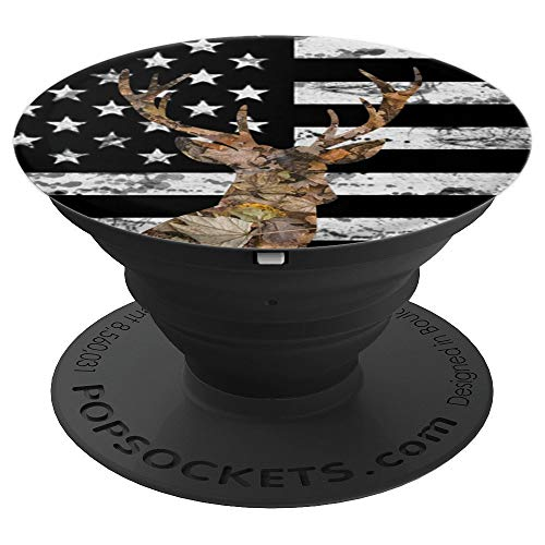 American Flag and Camo Deer Head - Design Series - PopSockets Grip and Stand for Phones and Tablets