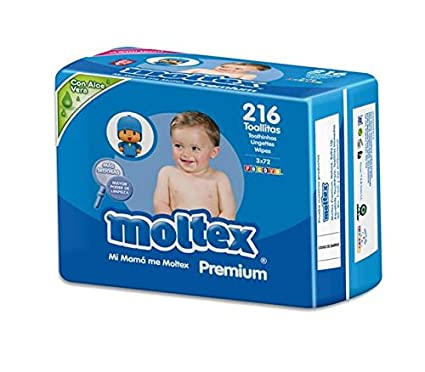 Moltex Premium Bolsita de Toallitas Húmedas para Bebé - 216 Toallitas