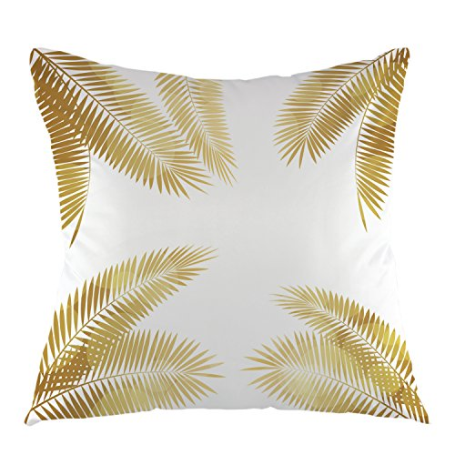 (oFloral Gold Palm Tree Leaves Throw Pillow Cover Tropical Palm Leaf Pillow Case Square Cushion Cover for Sofa Couch Home Car Bedroom Living Room Decorative 18