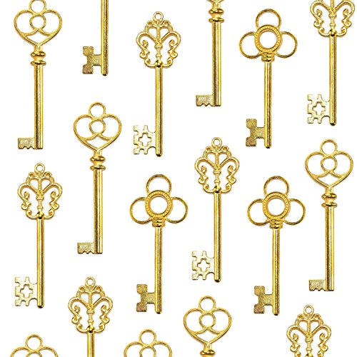 Salome Idea Mixed Set of 30 Large Skeleton Keys in Antique Silver - Set of 30 Keys (Antique Gold -