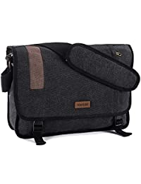 Canvas Messenger Bag Retro 15 inch Laptop Shoulder Bag for men by VX Vonxury