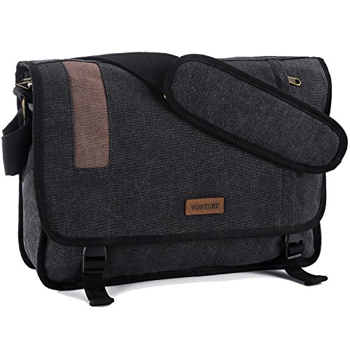 Vonxury Canvas Mens Messenger Bag Vintage 15 inch Laptop Bag Large Satchel Bag