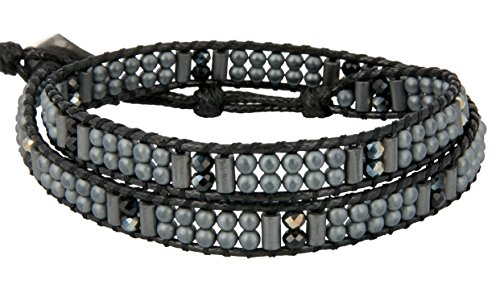 - Black Matte Grey Double Wrap Bead Bracelet, Choker, Boot or Hat Strap SPUNKYsoul Collection