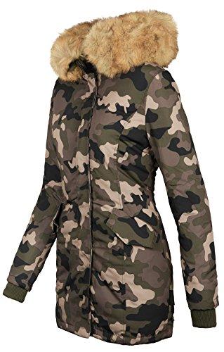femme Veste pour parka d'hiver Marikoo chaude Camouflage Army et B362 doublée RR8qwf