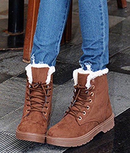 Las Botas De Nieve De Tobillo Plano De Las Mujeres De Aisun Mujeres Warm Comfy Thicken Brown