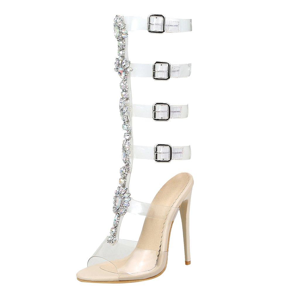 145dde4fca Amazon.com   Carolbar Women's Transparent Rhinestones Stilettos Mid-Calf  Summer Boots Sandals   Sandals