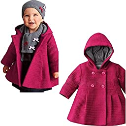 SPUNKYKIDS Baby Girl\'s Hooded Wool Cotton Trench Coat 18MO Rose