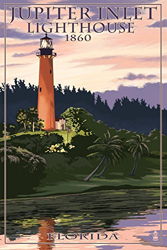 Jupiter, Florida - Jupiter Inlet Lighthouse (16x24 Giclee Gallery Print, Wall Decor Travel Poster)