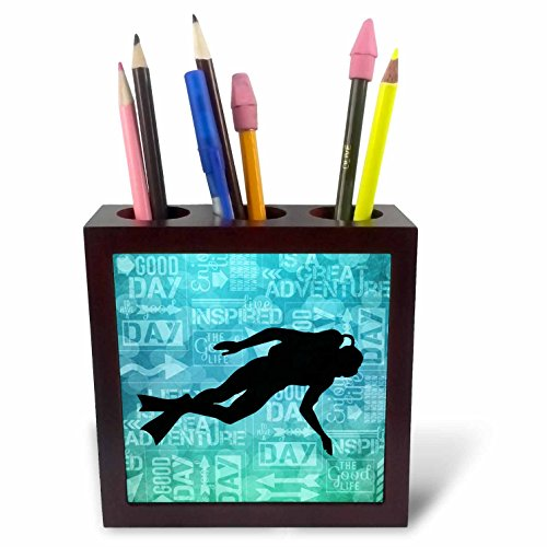 - 3dRose ph_173217_1 Cowboy Campfire with Horse on a Hill at Sunset Has a Western Feel Tile Pen Holder, 5