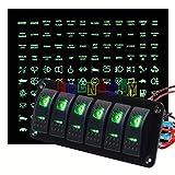 Frentaly 6 Gang Dual LED Rocker Switch Panel