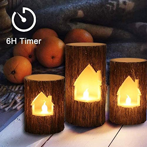 GenSwin Birch Bark Effect Flameless Candles Battery Operated Pillar Real Wax Flickering Electric LED Candle with 6 Hours Timer, Warm Light Home Decoration Gift, 4 5 6 Pack of 3