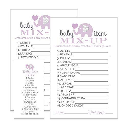 Purple Elephant Baby Shower Games Word Scramble Cards (25 -