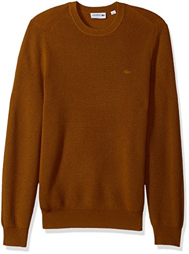 Lacoste Men's Wool Half Cardigan Rib Sweater with Fancy Stitch, Renaissance Brown, XXX-Large (Cardigan Mens Sweater Lacoste)