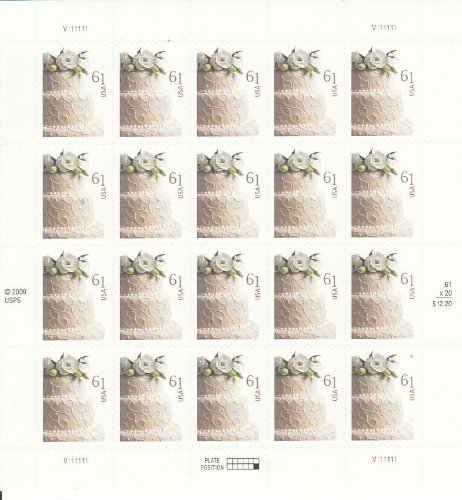 Wedding Cake Sheet of Twenty 61 Cent Stamps Scott 4398 by (Wedding Cake Stamp)