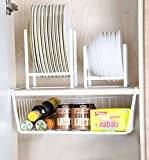 7U Under Cabinet Storage Basket, Metal Hanging Wire Shelf Rack Organizer for Kitchen Cupboard, Office Desk, Bookshelf - White