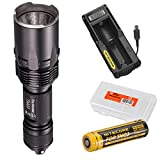 NiteCore TM03 2800 Lumens Super Bright Cree XHP70 LED Flashlight w/ dedicated IMR 18650 Rechargeable Battery, Nitecore UM10 Charger, and LumenTac Battery Organizer