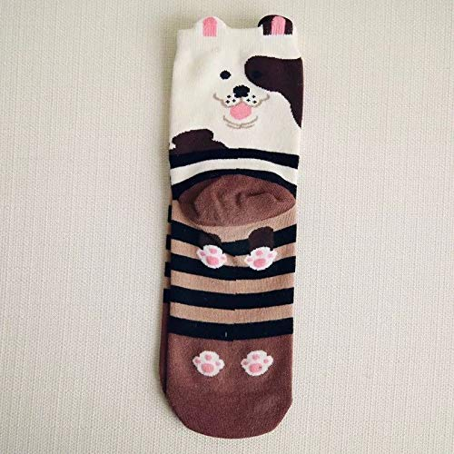 Price comparison product image One Pair Women Fashion Cute Fun Animal 3D Dog Cotton Soft Crew Socks (Brown)