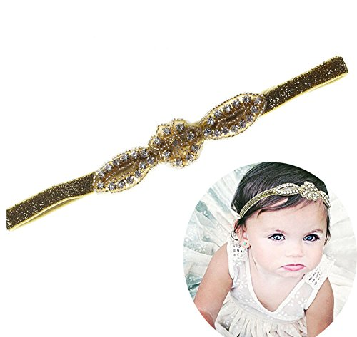 Floral Fall Baby Girls Gold Crystal Elastic Flower Headbands Hair Bands BY-17 (Gold)