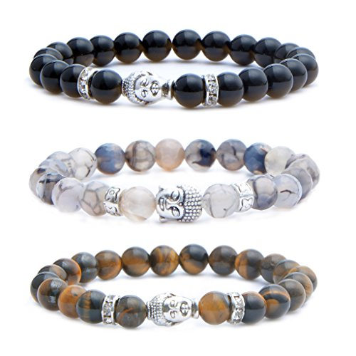MIKINI Mens Womens 8MM Healing Gemstone Buddhist Prayer Beads Bracelet, Alloy Buddha Head, 7'', Elastic (Black Agate & Dragon Vein Stone & Tiger Eye - Shipping Brazil Usps