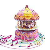 3D Puzzles for Kids, 29 PCs DIY 8-Horse Carousel Music Box Kids Puzzles, Stem Jigsaw Puzzles, Birthday Gift for Girls, Kids Prizes