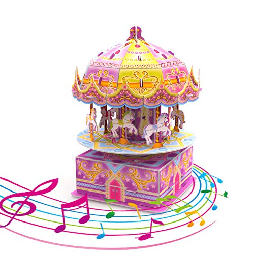 3D Puzzles for Kids, 29 PCs DIY 8-Horse Carousel Music Box Kids Puzzles, Stem Jigsaw Puzzles, Birthday Gift for Girls, Kids Prizes ()