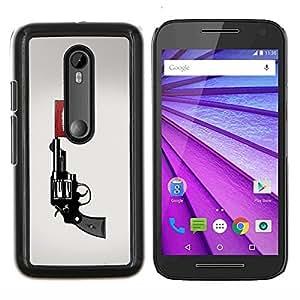 TECHCASE---Cubierta de la caja de protección para la piel dura ** Motorola MOTO G3 ( 3nd Generation ) ** --Explosión arma de la pistola
