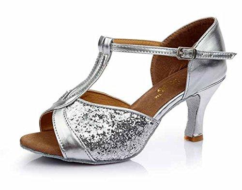YFF Mädchen Ballroom tango Frauen salsa Latin Dance Schuhe 5 cm und 7 cm hohem Absatz,Silber 5 CM,8.
