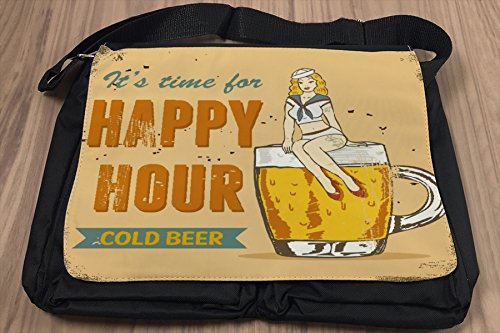 Borsa Tracolla Birra Retro Happy hour Stampato Divertimento Camera