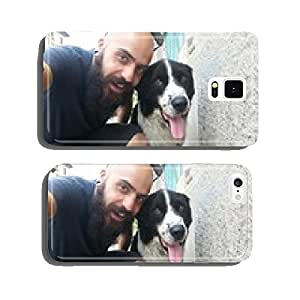 bearded man and his friend pet dog outdoor in the street taking selfie cell phone cover case Samsung S5