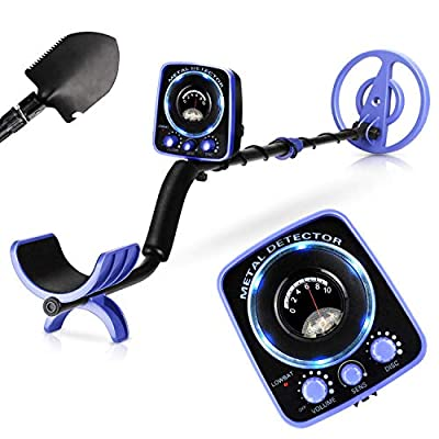 """INTEY Metal Detector Waterproof for Adults Kids Adjustable(35""""-45"""") High Accuracy with LED Flash Light &Two Mode(Multi-Function Folding Shovel)"""