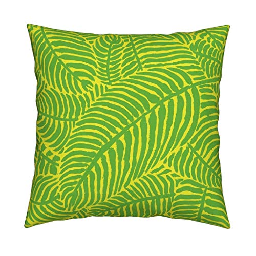 (Roostery Palm Trees Linen Cotton Throw Pillow Palm Trees Tropical Summer Botanical Palm Trees Palm Fronds Green and Yellow The Prime by Theprimefloridian Cover and Insert Included)
