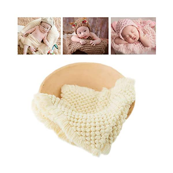 Newborn Photography Wrap | Knitted Blanket for Baby Photo Props | 14 X 63 inch Newborn Rug Basket Filler with Tassel Beige
