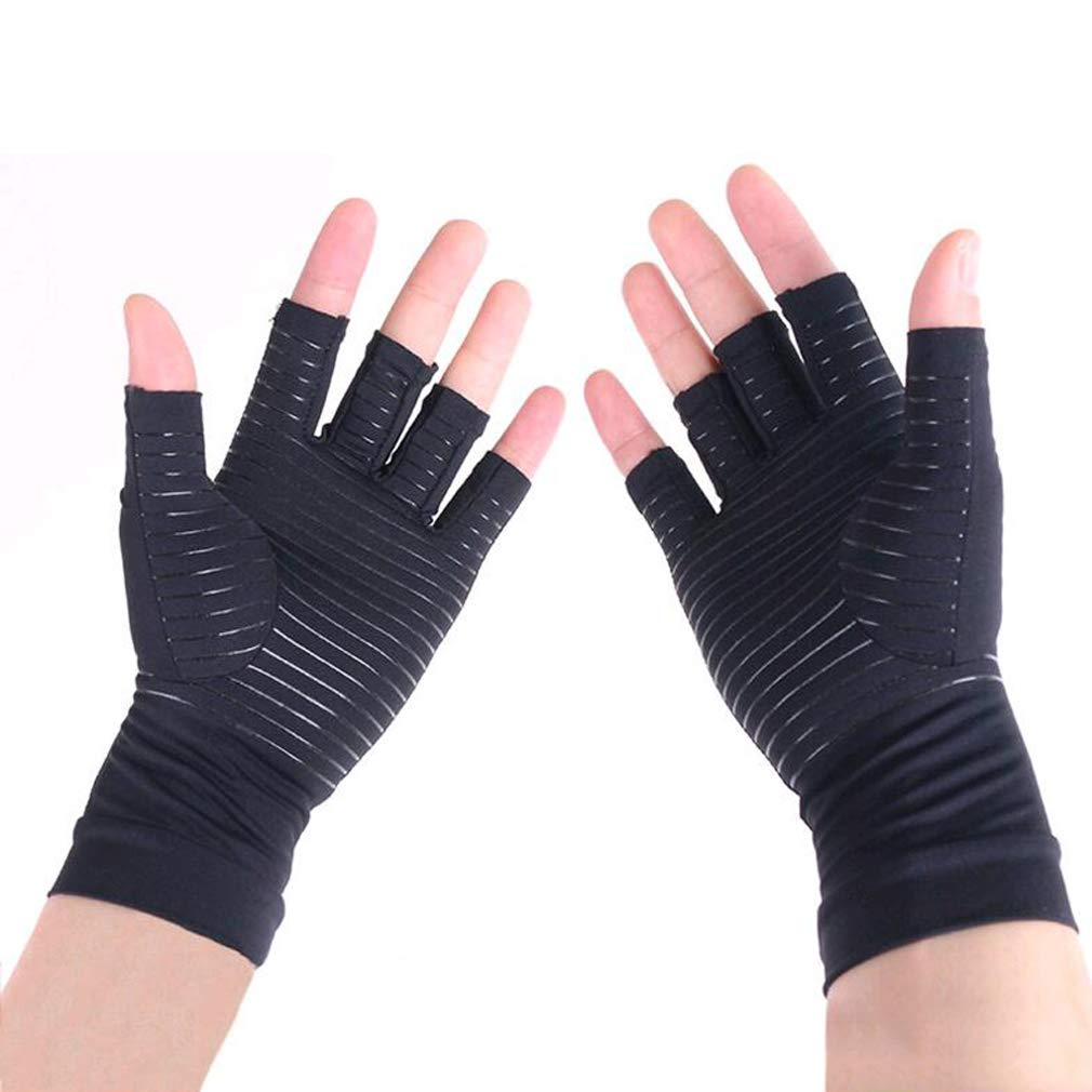 Arthritis Gloves, Copper-Infused Fingerless Compression Gloves to Speed Up Recovery & Relieve Symptoms of Arthritis, RSI, Tendonitis & More for Men & Women - 1 Pair (L)