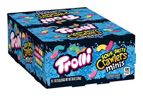 Trolli Sour Brite Mini Crawlers Gummy Worms, 2 Ounce Bag (Pack of 18) Sour Gummy Worms ()