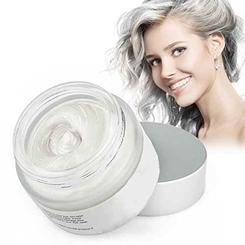 Mofajang Hair Wax Dye Styling Cream Mud, Natural Hairstyle Color Pomade, Washable Temporary (White) -