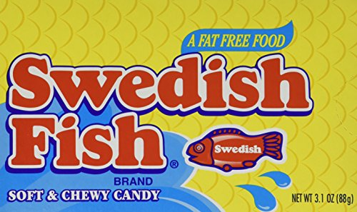 12 Theater Boxes - Swedish Fish, Theater Box, 3.1oz Box (Pack of 12)