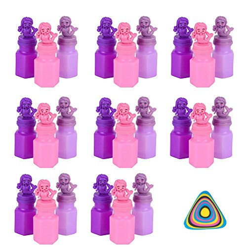 Mermaid Bubbles 24 Pack and 1 Vortex Eraser - Party Favors, Goody Bags, Activities, Easter Baskets, Stocking Stuffers