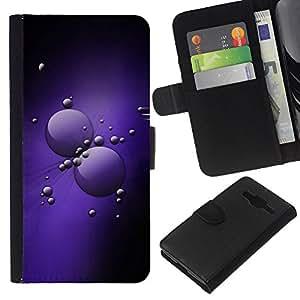 [Neutron-Star] Modelo colorido cuero de la carpeta del tirón del caso cubierta piel Holster Funda protecció Para Samsung Galaxy Core Prime [Purple Cells]