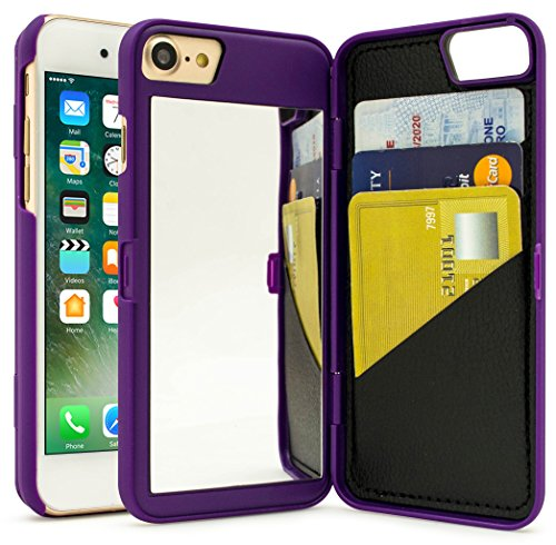 iPhone 7 Case, Bastex Purple Hidden Back Mirror Wallet Case with Stand Feature and Card Holder for Apple iPhone 7