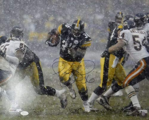 Jerome Bettis Autographed Pittsburgh Steelers 16x20 Photo Snow JSA