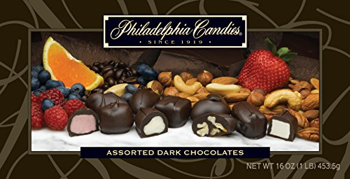 Philadelphia Candies Assorted Dark Boxed Chocolates, 1 Pound Gift Box (Approximately 32 Pieces)