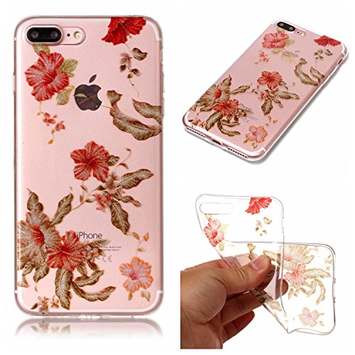 Clear Hybrid Fancy Flash Powder Hard Soft Silicone Back Case Cover Fit for Apple iPhone 7 Plus (Rhododendron) ()