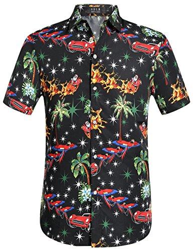 SSLR Men's Santa Claus Holiday Party Hawaiian Ugly Christmas Shirt (Meidum, Black)