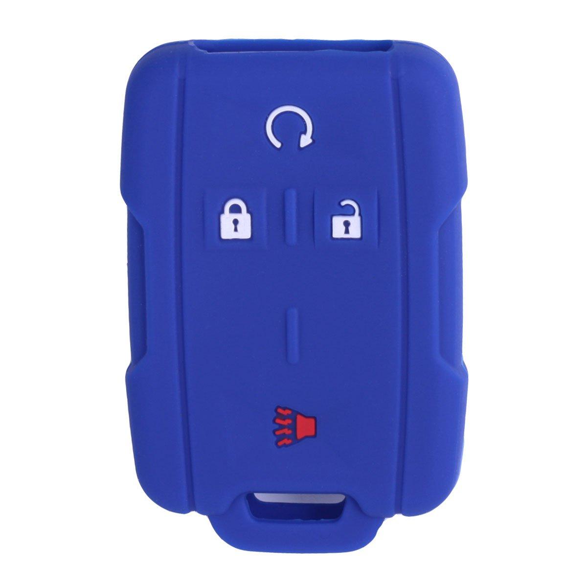 2Pcs XUHANG Sillicone key fob Skin key Cover Remote Case Protector Shell for Chevrolet Silverado Colorado GMC Sierra Yukon Cadillac smart Remote black blue